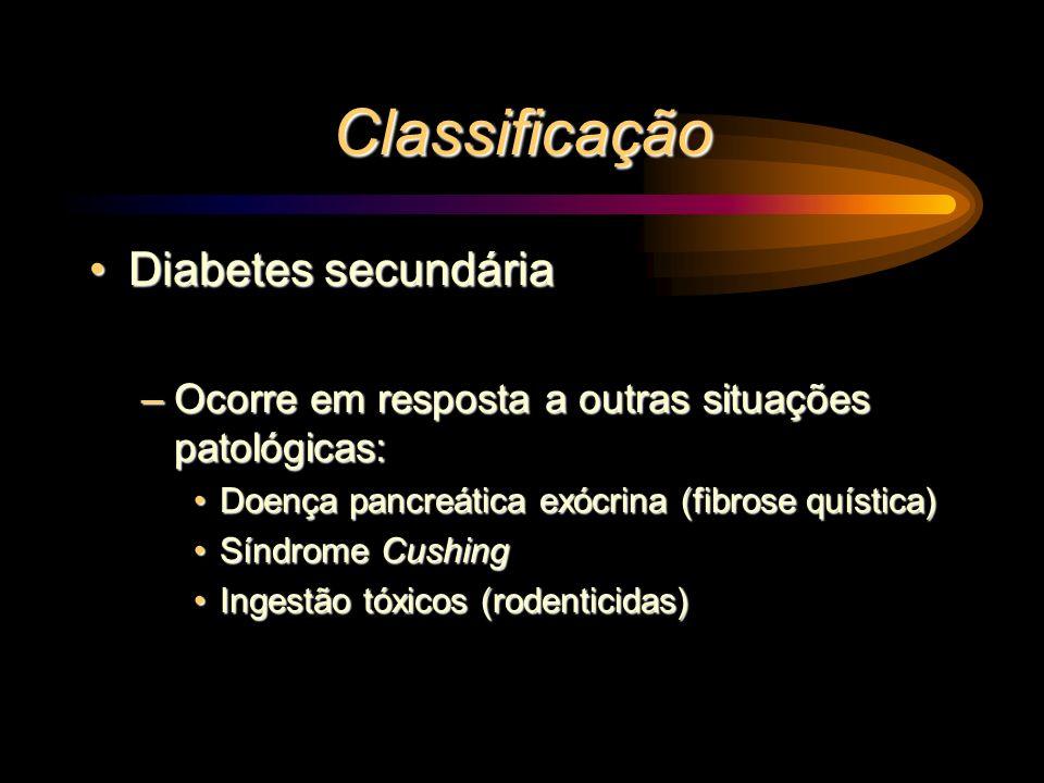 Classificação Diabetes secundáriaDiabetes secundária –Ocorre em resposta a outras situações patológicas: Doença pancreática exócrina (fibrose quística