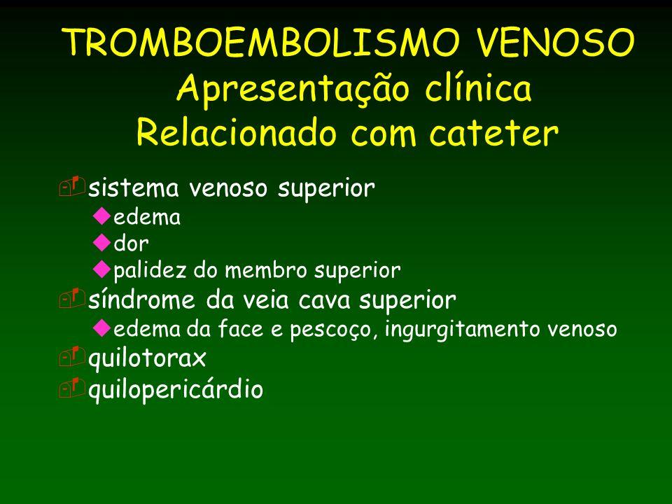TROMBOEMBOLISMO VENOSO Apresentação clínica Relacionado com cateter sistema venoso superior edema dor palidez do membro superior síndrome da veia cava superior edema da face e pescoço, ingurgitamento venoso quilotorax quilopericárdio