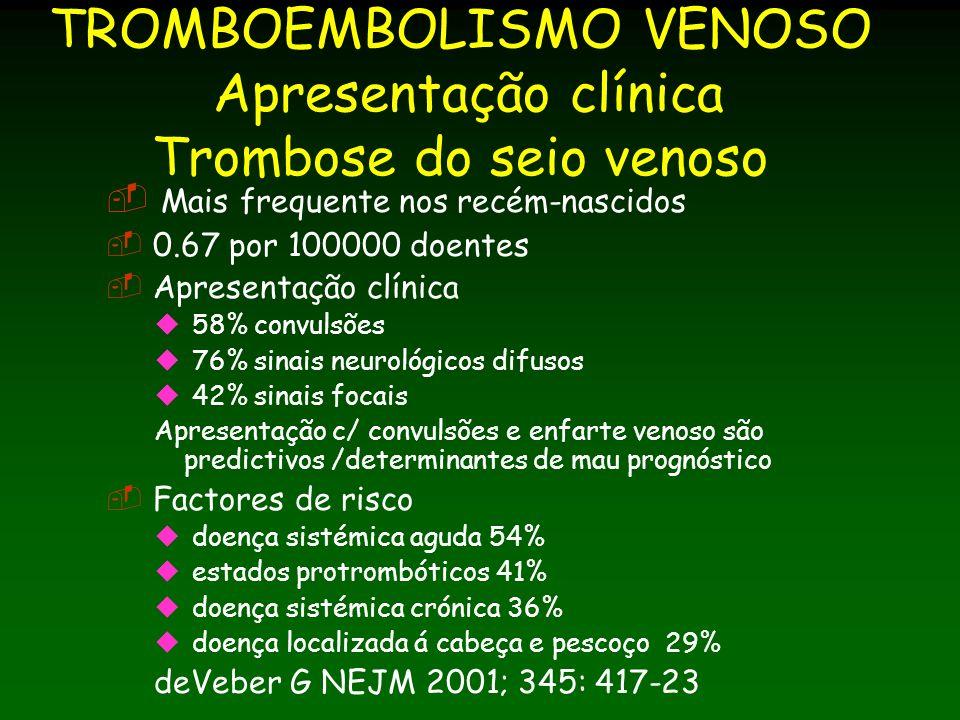 TROMBOEMBOLISMO VENOSO Apresentação clínica Trombose do seio venoso Mais frequente nos recém-nascidos 0.67 por 100000 doentes Apresentação clínica 58% convulsões 76% sinais neurológicos difusos 42% sinais focais Apresentação c/ convulsões e enfarte venoso são predictivos /determinantes de mau prognóstico Factores de risco doença sistémica aguda 54% estados protrombóticos 41% doença sistémica crónica 36% doença localizada á cabeça e pescoço 29% deVeber G NEJM 2001; 345: 417-23