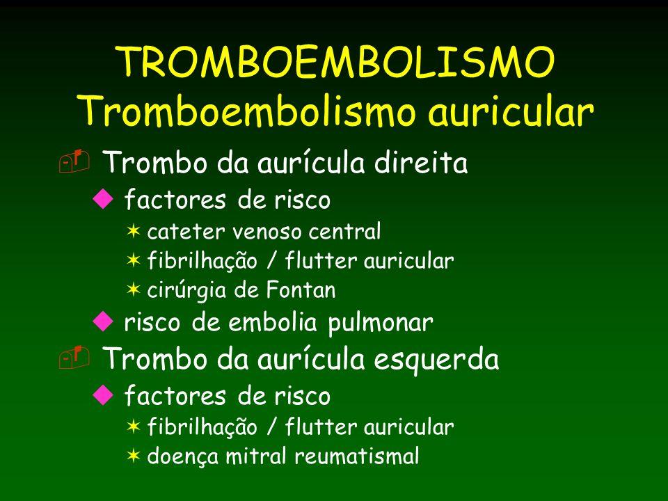 TROMBOEMBOLISMO Tromboembolismo auricular Trombo da aurícula direita factores de risco cateter venoso central fibrilhação / flutter auricular cirúrgia de Fontan risco de embolia pulmonar Trombo da aurícula esquerda factores de risco fibrilhação / flutter auricular doença mitral reumatismal