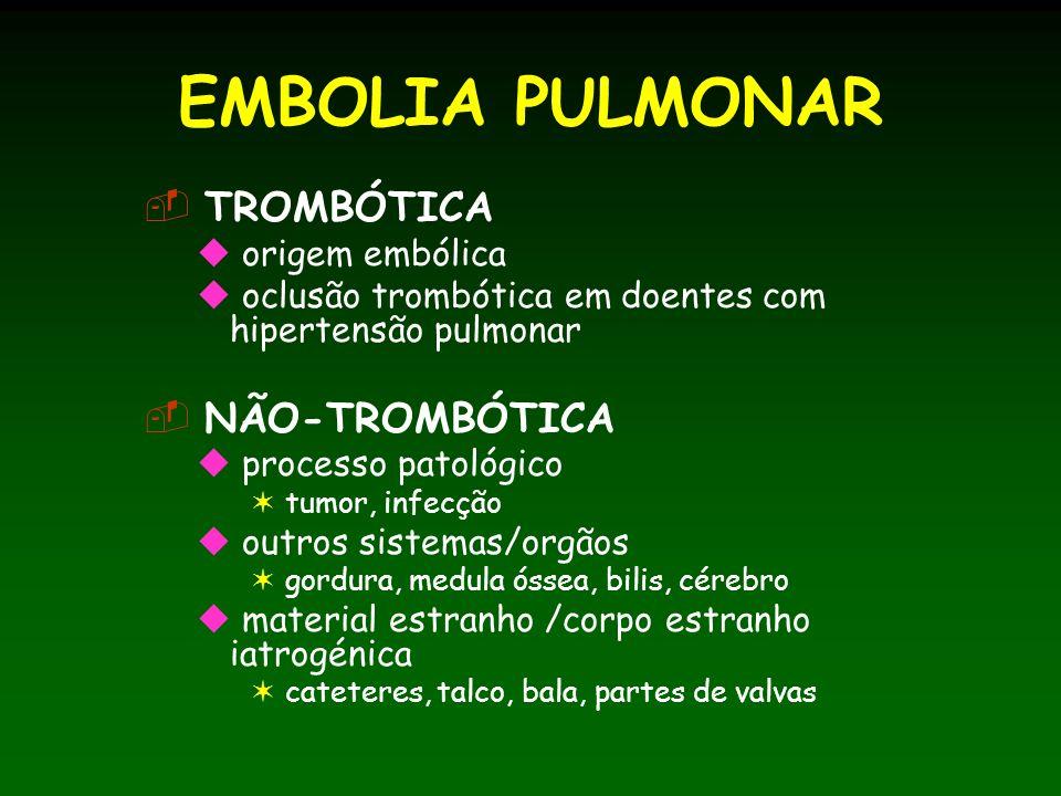 EMBOLIA PULMONAR TROMBÓTICA origem embólica oclusão trombótica em doentes com hipertensão pulmonar NÃO-TROMBÓTICA processo patológico tumor, infecção outros sistemas/orgãos gordura, medula óssea, bilis, cérebro material estranho /corpo estranho iatrogénica cateteres, talco, bala, partes de valvas