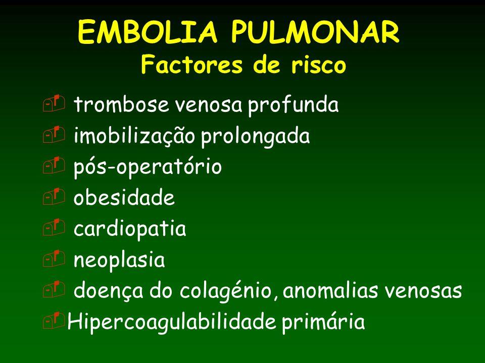 EMBOLIA PULMONAR Factores de risco trombose venosa profunda imobilização prolongada pós-operatório obesidade cardiopatia neoplasia doença do colagénio, anomalias venosas Hipercoagulabilidade primária