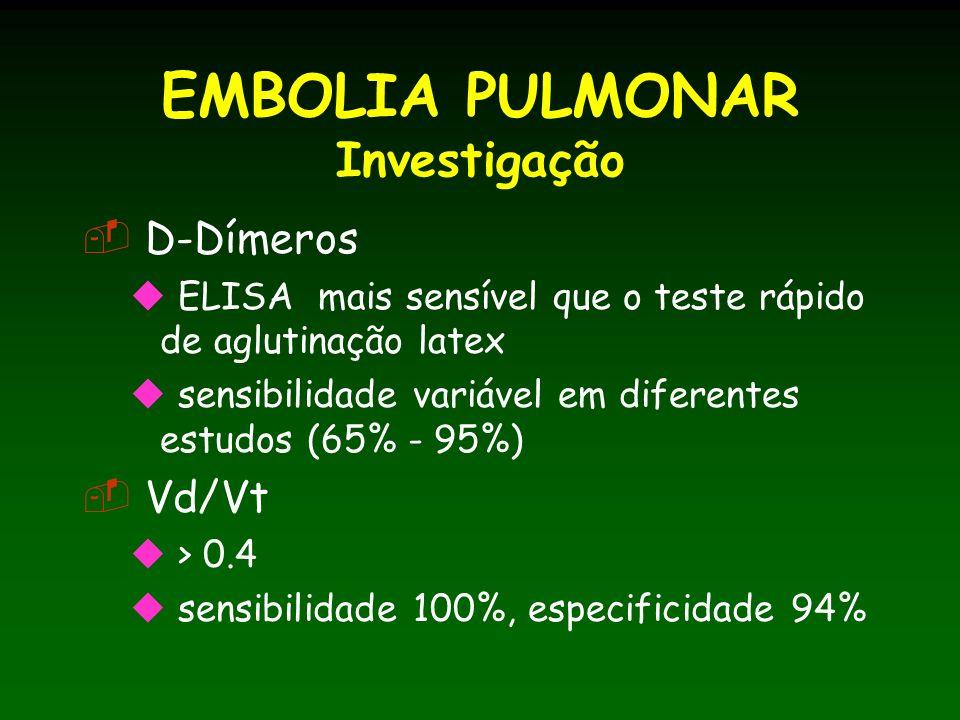 EMBOLIA PULMONAR Investigação D-Dímeros ELISA mais sensível que o teste rápido de aglutinação latex sensibilidade variável em diferentes estudos (65% - 95%) Vd/Vt > 0.4 sensibilidade 100%, especificidade 94%