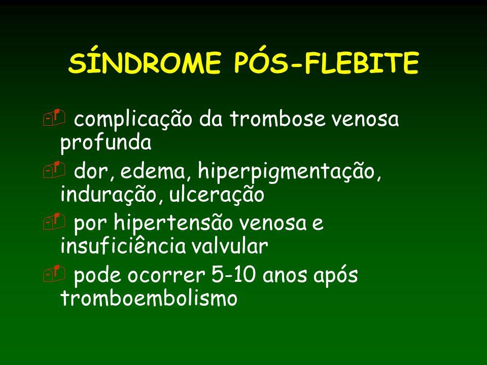 SÍNDROME PÓS-FLEBITE complicação da trombose venosa profunda dor, edema, hiperpigmentação, induração, ulceração por hipertensão venosa e insuficiência valvular pode ocorrer 5-10 anos após tromboembolismo