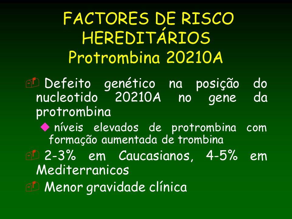 FACTORES DE RISCO HEREDITÁRIOS Protrombina 20210A Defeito genético na posição do nucleotido 20210A no gene da protrombina níveis elevados de protrombina com formação aumentada de trombina 2-3% em Caucasianos, 4-5% em Mediterranicos Menor gravidade clínica