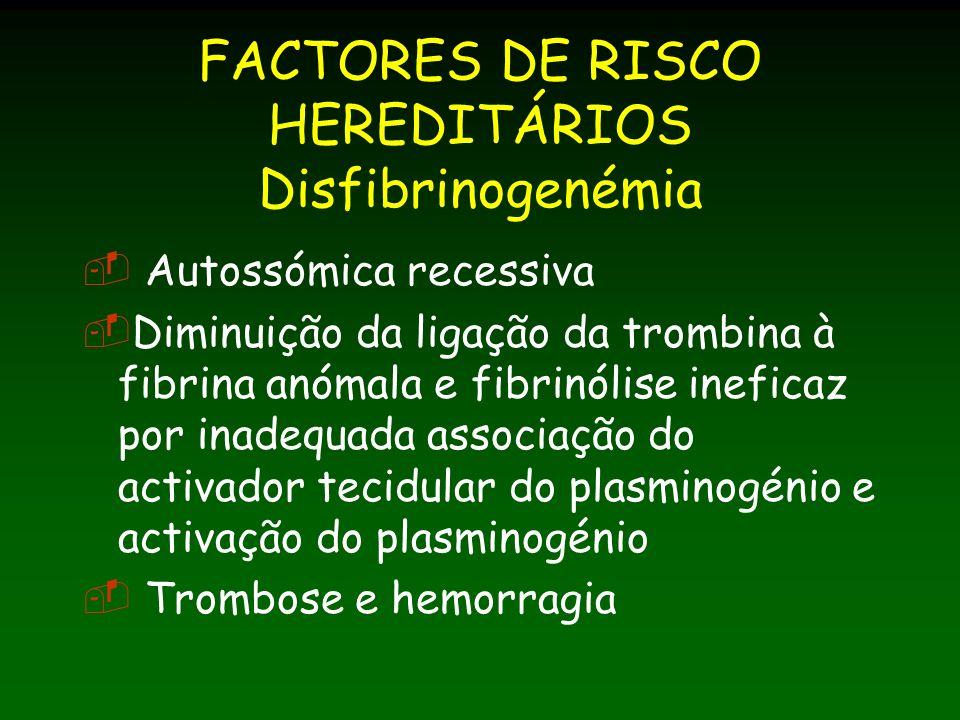 FACTORES DE RISCO HEREDITÁRIOS Disfibrinogenémia Autossómica recessiva Diminuição da ligação da trombina à fibrina anómala e fibrinólise ineficaz por inadequada associação do activador tecidular do plasminogénio e activação do plasminogénio Trombose e hemorragia