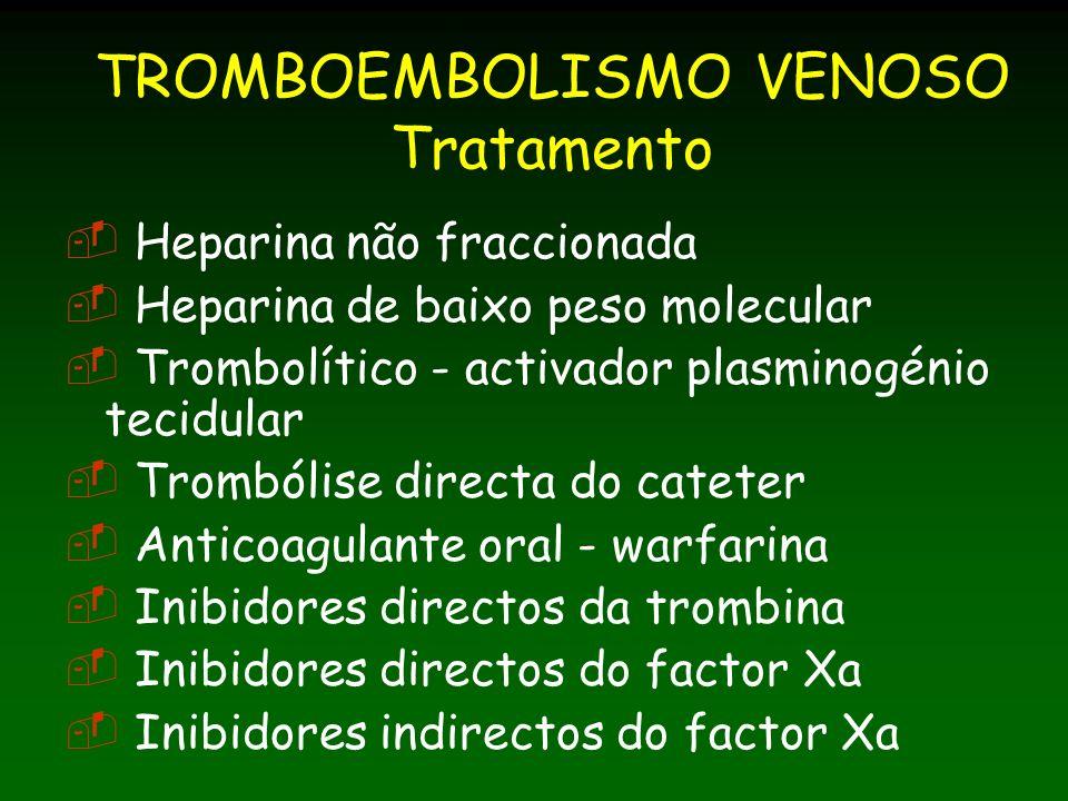 TROMBOEMBOLISMO VENOSO Tratamento Heparina não fraccionada Heparina de baixo peso molecular Trombolítico - activador plasminogénio tecidular Trombólise directa do cateter Anticoagulante oral - warfarina Inibidores directos da trombina Inibidores directos do factor Xa Inibidores indirectos do factor Xa