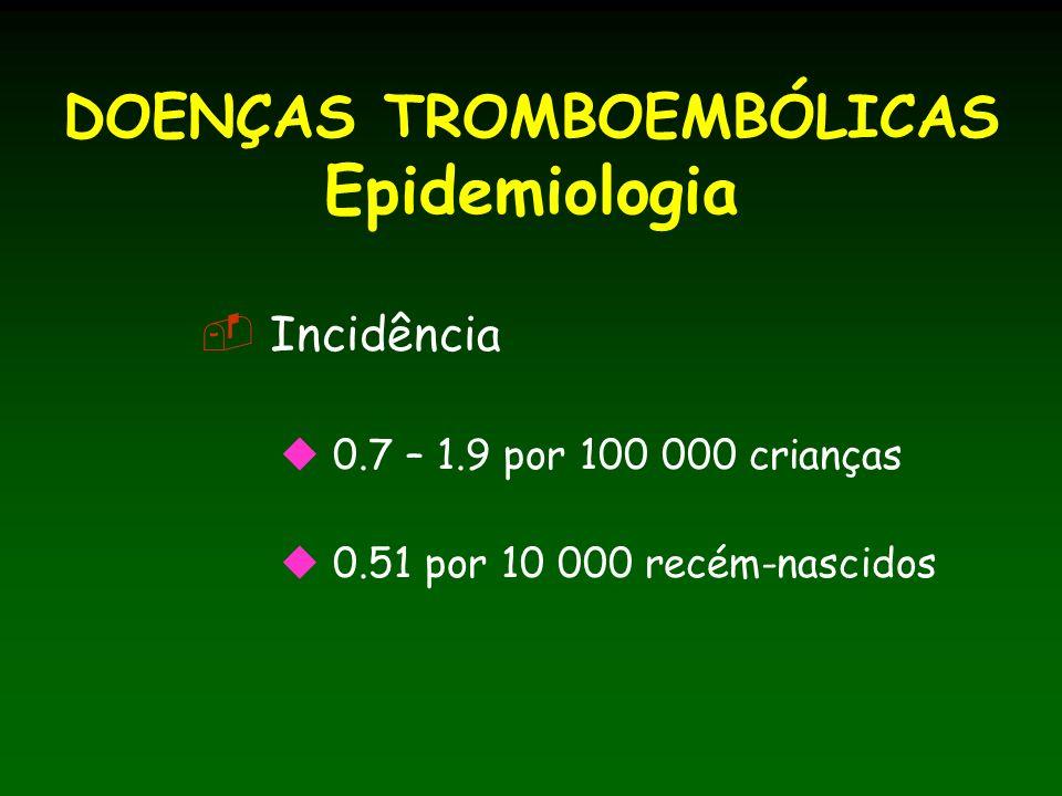 DOENÇAS TROMBOEMBÓLICAS Epidemiologia Incidência 0.7 – 1.9 por 100 000 crianças 0.51 por 10 000 recém-nascidos