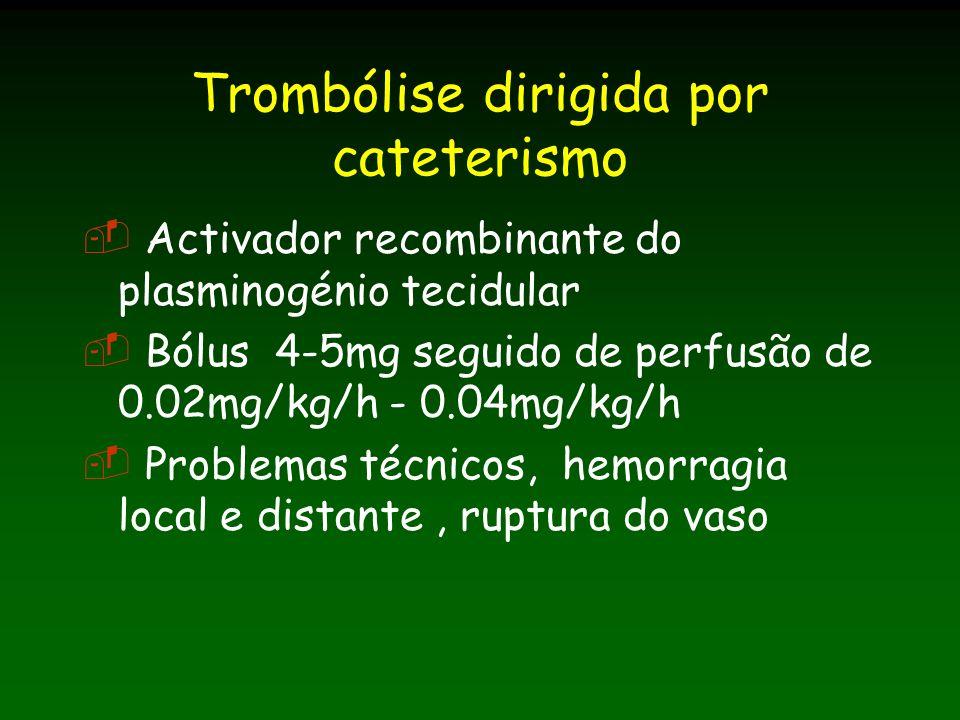 Trombólise dirigida por cateterismo Activador recombinante do plasminogénio tecidular Bólus 4-5mg seguido de perfusão de 0.02mg/kg/h - 0.04mg/kg/h Problemas técnicos, hemorragia local e distante, ruptura do vaso