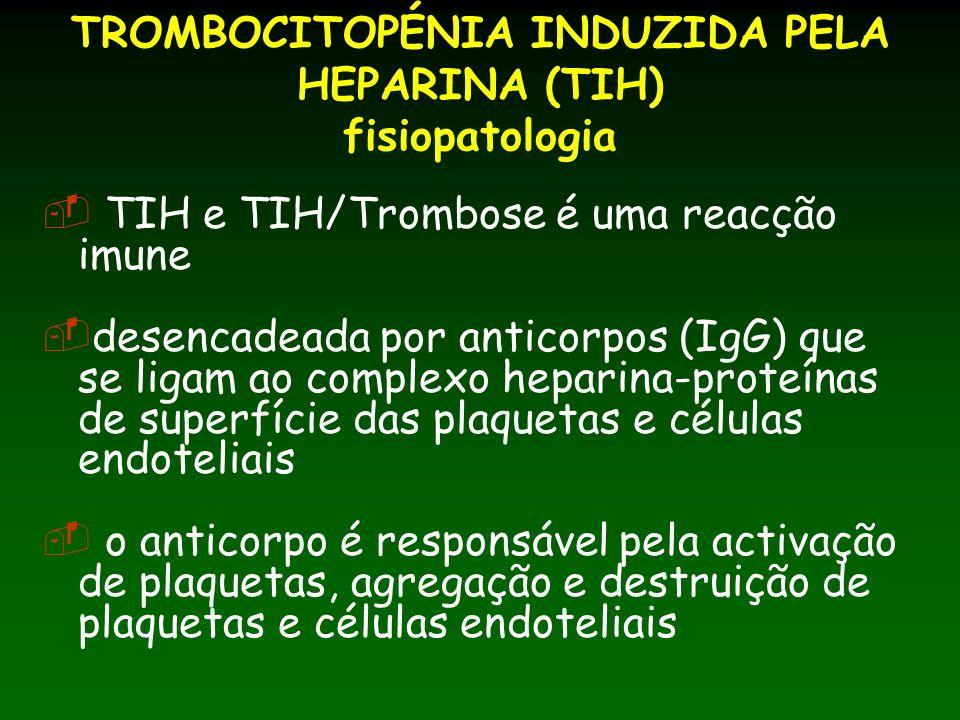 TROMBOCITOPÉNIA INDUZIDA PELA HEPARINA (TIH) fisiopatologia TIH e TIH/Trombose é uma reacção imune desencadeada por anticorpos (IgG) que se ligam ao complexo heparina-proteínas de superfície das plaquetas e células endoteliais o anticorpo é responsável pela activação de plaquetas, agregação e destruição de plaquetas e células endoteliais