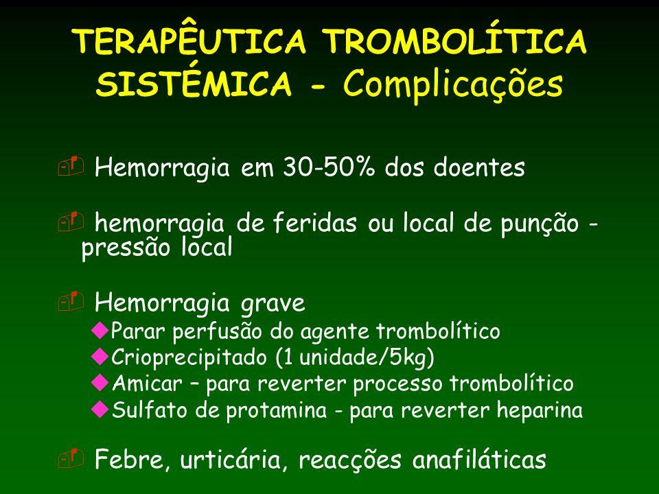 TERAPÊUTICA TROMBOLÍTICA SISTÉMICA - Complicações Hemorragia em 30-50% dos doentes hemorragia de feridas ou local de punção - pressão local Hemorragia grave Parar perfusão do agente trombolítico Crioprecipitado (1 unidade/5kg) Amicar – para reverter processo trombolítico Sulfato de protamina - para reverter heparina Febre, urticária, reacções anafiláticas