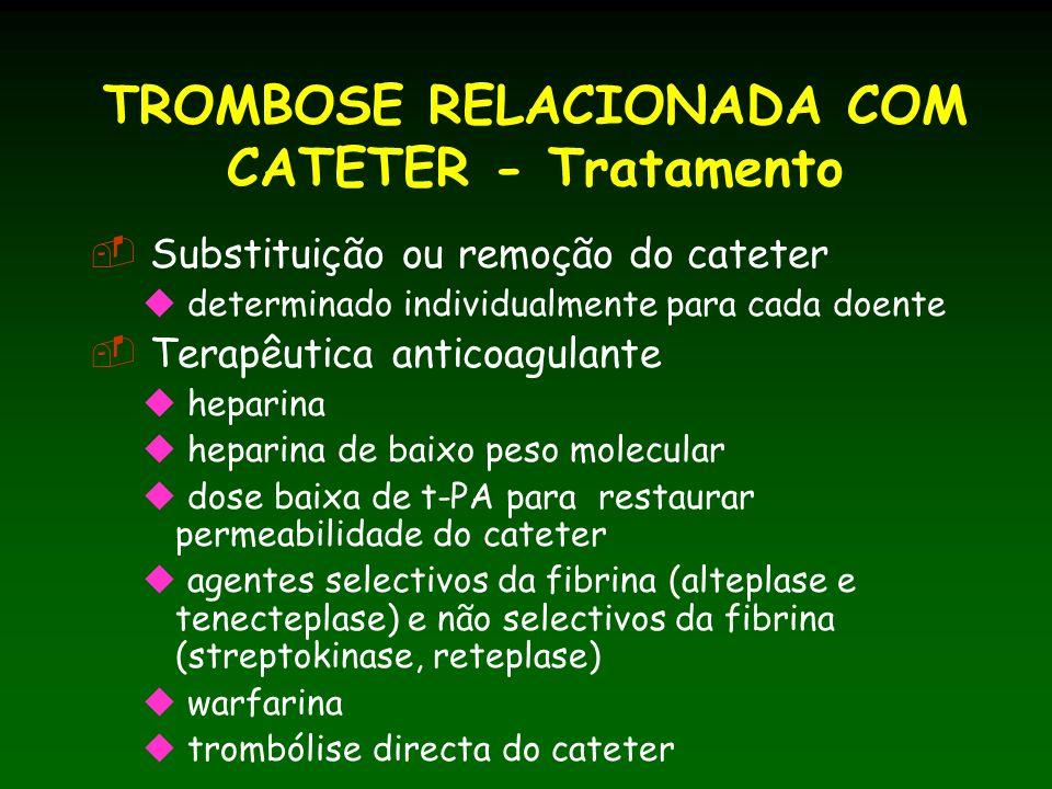 TROMBOSE RELACIONADA COM CATETER - Tratamento Substituição ou remoção do cateter determinado individualmente para cada doente Terapêutica anticoagulante heparina heparina de baixo peso molecular dose baixa de t-PA para restaurar permeabilidade do cateter agentes selectivos da fibrina (alteplase e tenecteplase) e não selectivos da fibrina (streptokinase, reteplase) warfarina trombólise directa do cateter