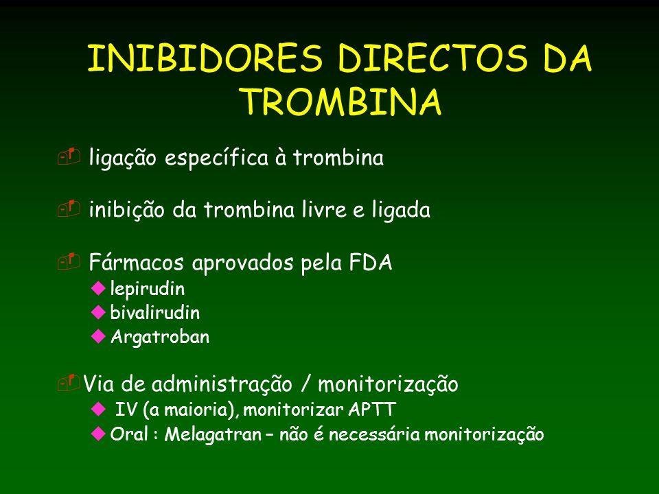 INIBIDORES DIRECTOS DA TROMBINA ligação específica à trombina inibição da trombina livre e ligada Fármacos aprovados pela FDA lepirudin bivalirudin Argatroban Via de administração / monitorização IV (a maioria), monitorizar APTT Oral : Melagatran – não é necessária monitorização