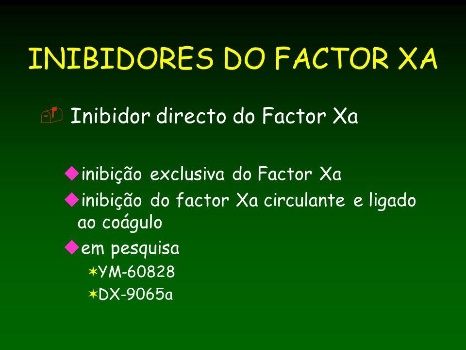 INIBIDORES DO FACTOR XA Inibidor directo do Factor Xa inibição exclusiva do Factor Xa inibição do factor Xa circulante e ligado ao coágulo em pesquisa YM-60828 DX-9065a