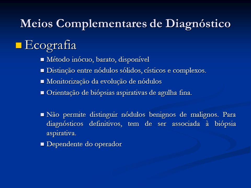 Meios Complementares de Diagnóstico Ecografia Ecografia Método inócuo, barato, disponível Método inócuo, barato, disponível Distinção entre nódulos sólidos, císticos e complexos.