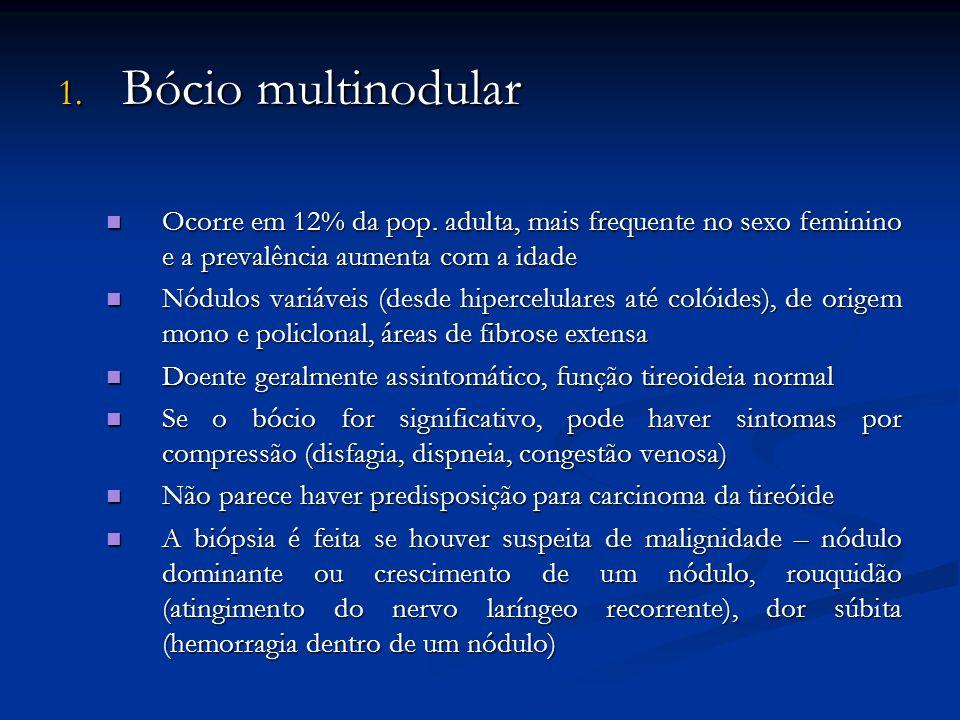 1.Bócio multinodular Ocorre em 12% da pop.