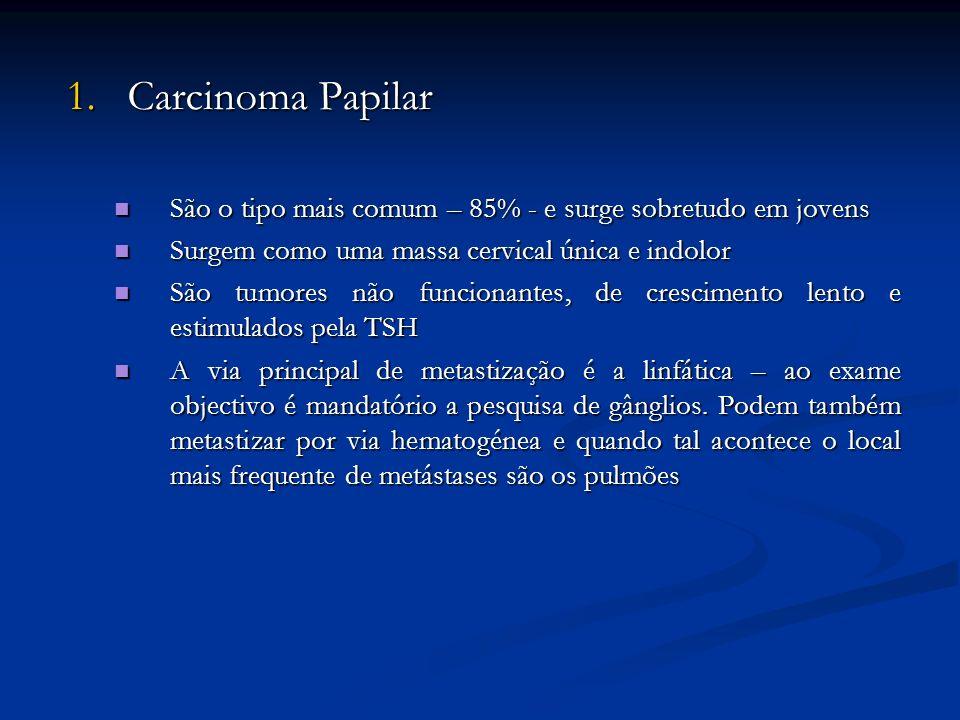 1. Carcinoma Papilar São o tipo mais comum – 85% - e surge sobretudo em jovens São o tipo mais comum – 85% - e surge sobretudo em jovens Surgem como u