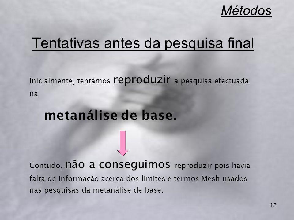 12 Métodos Tentativas antes da pesquisa final Inicialmente, tentámos reproduzir a pesquisa efectuada na metanálise de base. não a conseguimos Contudo,