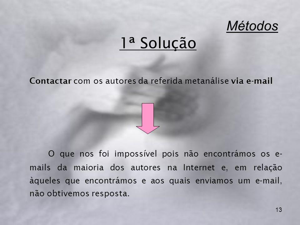13 Métodos 1ª Solução Contactar via e-mail Contactar com os autores da referida metanálise via e-mail O que nos foi impossível pois não encontrámos os