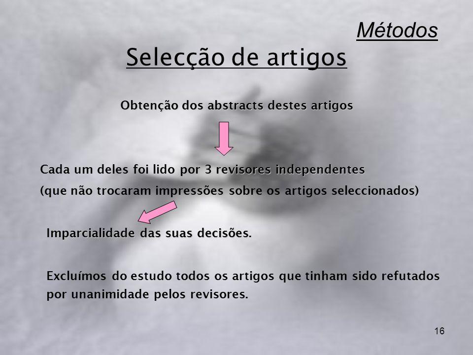 16 Métodos Selecção de artigos Obtenção dos abstracts destes artigos 3 revisores independentes Cada um deles foi lido por 3 revisores independentes (q