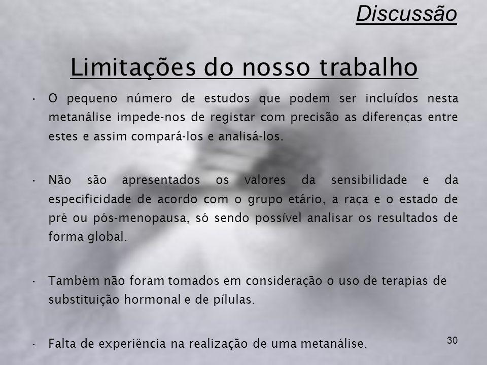 30 Discussão Limitações do nosso trabalho O pequeno número de estudos que podem ser incluídos nesta metanálise impede-nos de registar com precisão as