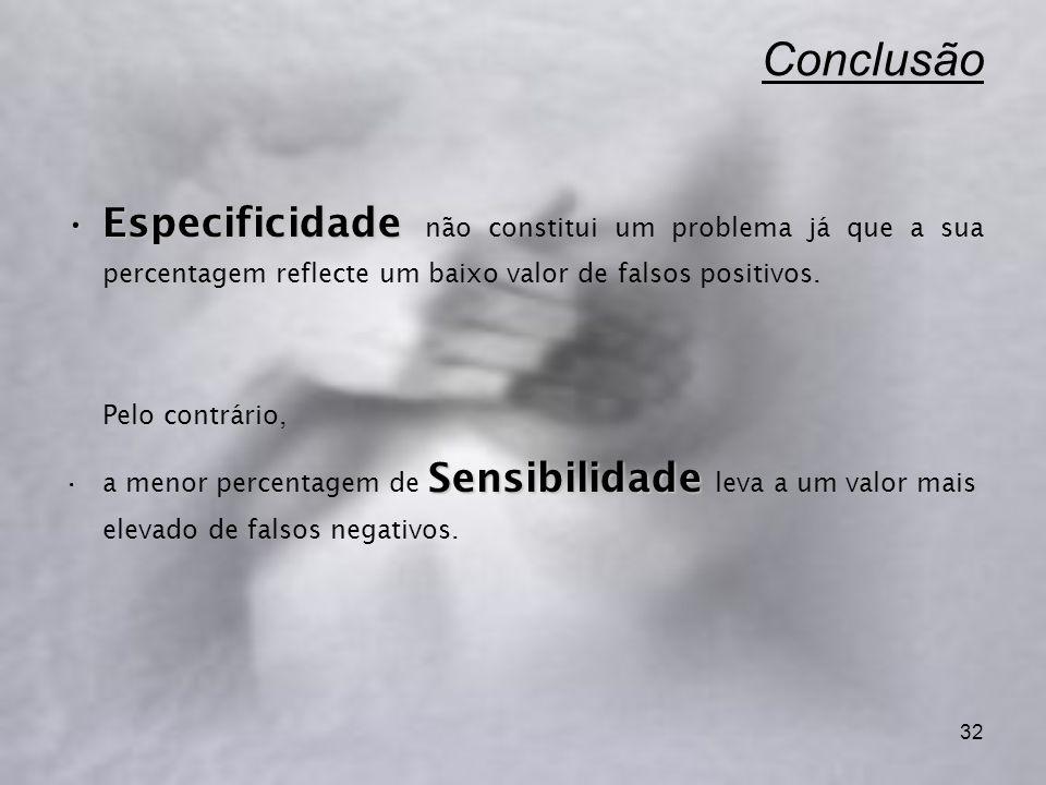 32 Conclusão EspecificidadeEspecificidade não constitui um problema já que a sua percentagem reflecte um baixo valor de falsos positivos. Pelo contrár