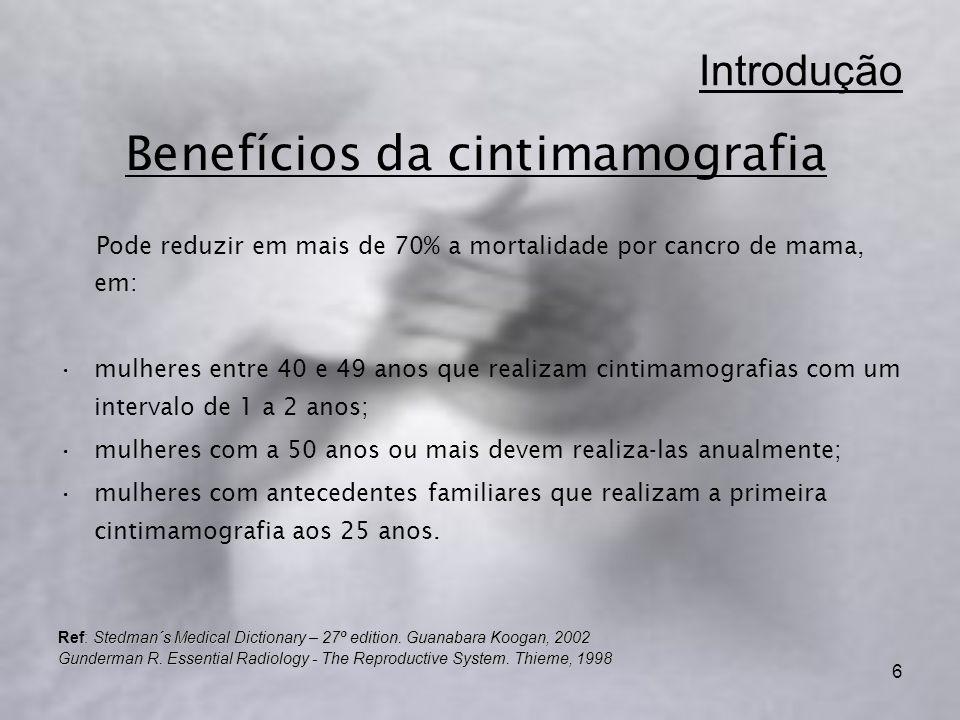 6 Introdução Pode reduzir em mais de 70% a mortalidade por cancro de mama, em: mulheres entre 40 e 49 anos que realizam cintimamografias com um intervalo de 1 a 2 anos; mulheres com a 50 anos ou mais devem realiza-las anualmente; mulheres com antecedentes familiares que realizam a primeira cintimamografia aos 25 anos.