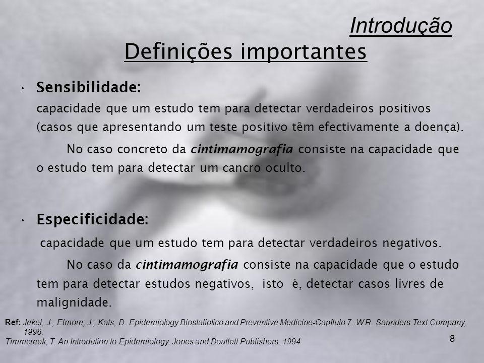 8 Introdução Definições importantes Sensibilidade: capacidade que um estudo tem para detectar verdadeiros positivos (casos que apresentando um teste positivo têm efectivamente a doença).