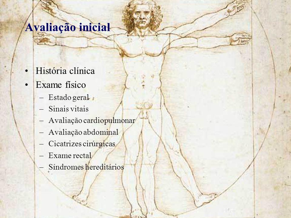 Avaliação inicial História clínica Exame físico –Estado geral –Sinais vitais –Avaliação cardiopulmonar –Avaliação abdominal –Cicatrizes cirúrgicas –Ex