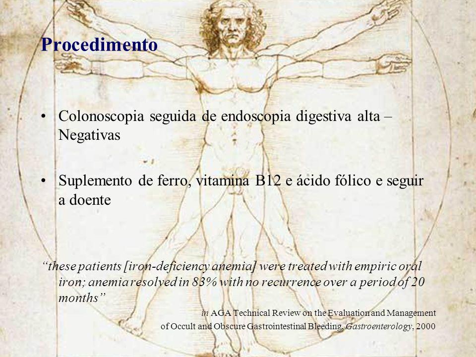 Procedimento Colonoscopia seguida de endoscopia digestiva alta – Negativas Suplemento de ferro, vitamina B12 e ácido fólico e seguir a doente these pa