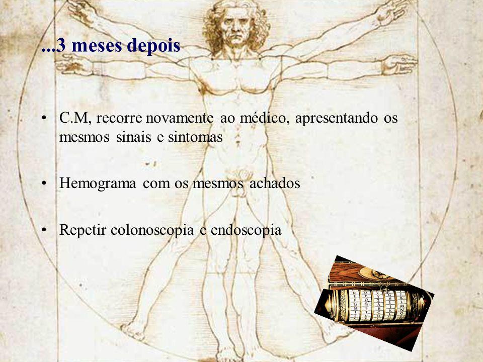 ...3 meses depois C.M, recorre novamente ao médico, apresentando os mesmos sinais e sintomas Hemograma com os mesmos achados Repetir colonoscopia e en