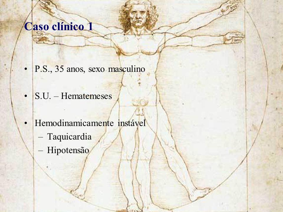 P.S., 35 anos, sexo masculino S.U. – Hematemeses Hemodinamicamente instável –Taquicardia –Hipotensão Caso clínico 1