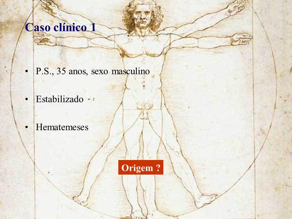 Caso clínico 1 P.S., 35 anos, sexo masculino Estabilizado Hematemeses Origem ?