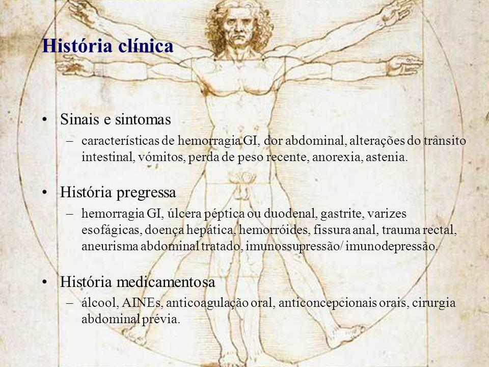 História clínica Sinais e sintomas –características de hemorragia GI, dor abdominal, alterações do trânsito intestinal, vómitos, perda de peso recente