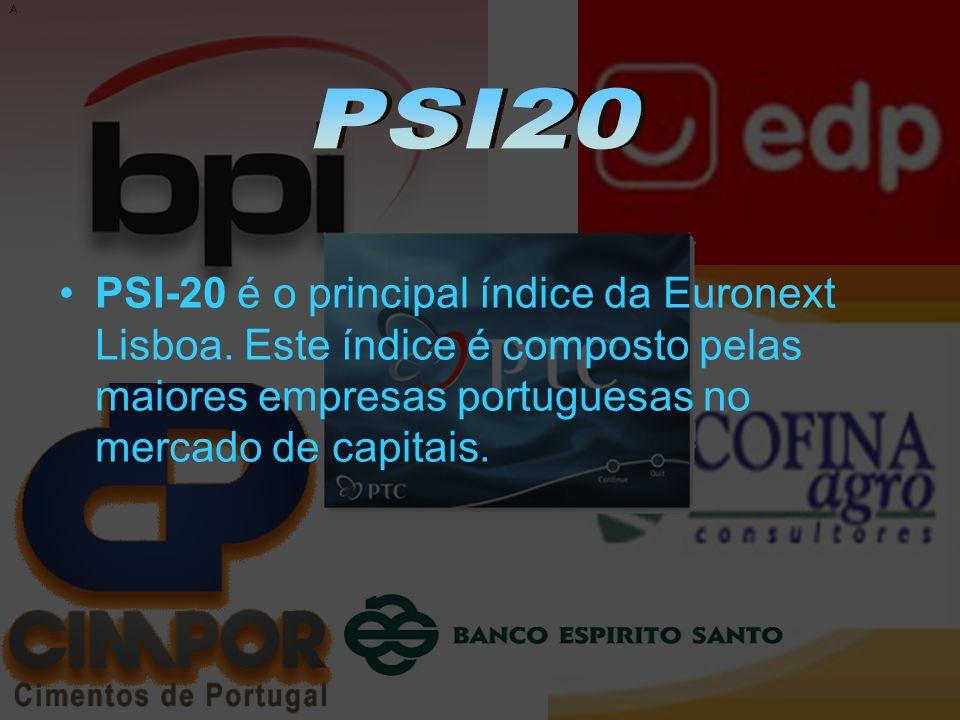 A PSI-20 é o principal índice da Euronext Lisboa. Este índice é composto pelas maiores empresas portuguesas no mercado de capitais.