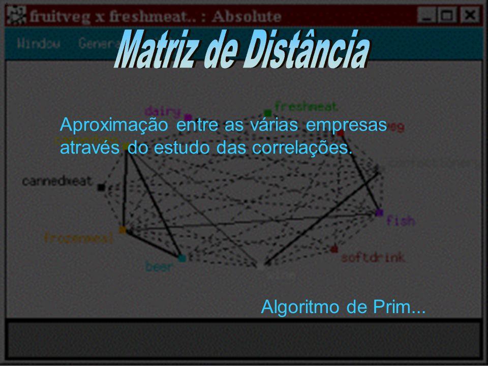 A Aproximação entre as várias empresas através do estudo das correlações. Algoritmo de Prim...