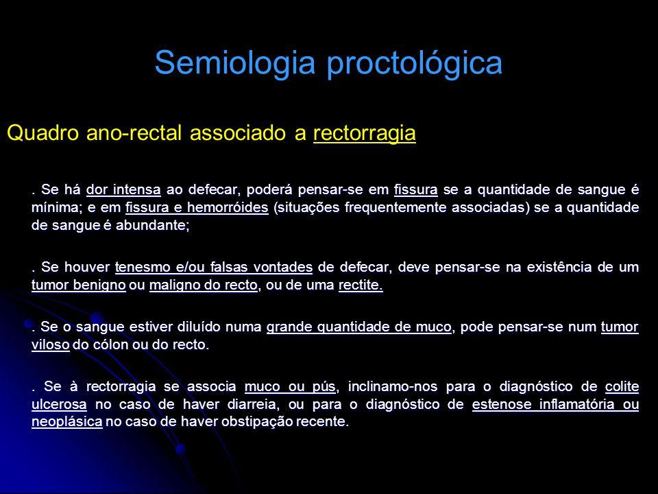 Semiologia proctológica Quadro ano-rectal associado a rectorragia. Se há dor intensa ao defecar, poderá pensar-se em fissura se a quantidade de sangue