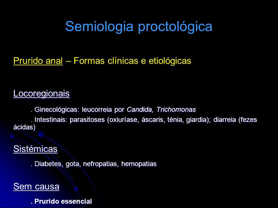Semiologia proctológica Prurido anal – Formas clínicas e etiológicasLocoregionais. Ginecológicas: leucorreia por Candida, Trichomonas. Intestinais: pa