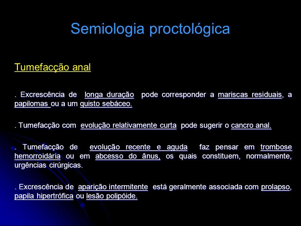 Semiologia proctológica Tumefacção anal. Excrescência de longa duração pode corresponder a mariscas residuais, a papilomas ou a um quisto sebáceo.. Tu