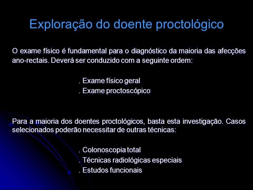 Exploração do doente proctológico O exame físico é fundamental para o diagnóstico da maioria das afecções ano-rectais. Deverá ser conduzido com a segu