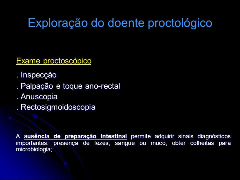 Exploração do doente proctológico Exame proctoscópico. Inspecção. Palpação e toque ano-rectal. Anuscopia. Rectosigmoidoscopia A ausência de preparação