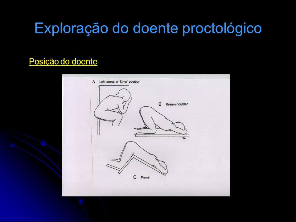 Exploração do doente proctológico Posição do doente