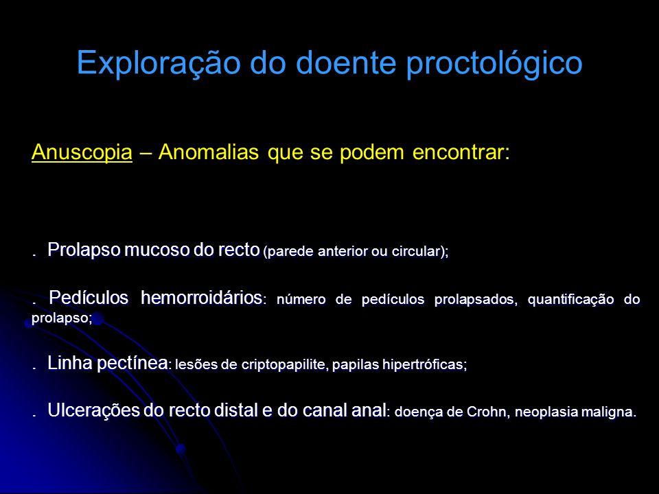 Exploração do doente proctológico Anuscopia – Anomalias que se podem encontrar:. Prolapso mucoso do recto (parede anterior ou circular);. Pedículos he