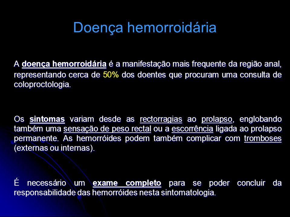 Doença hemorroidária A doença hemorroidária é a manifestação mais frequente da região anal, representando cerca de dos doentes que procuram uma consul