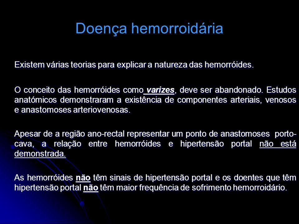 Doença hemorroidária Existem várias teorias para explicar a natureza das hemorróides. O conceito das hemorróides como varizes, deve ser abandonado. Es