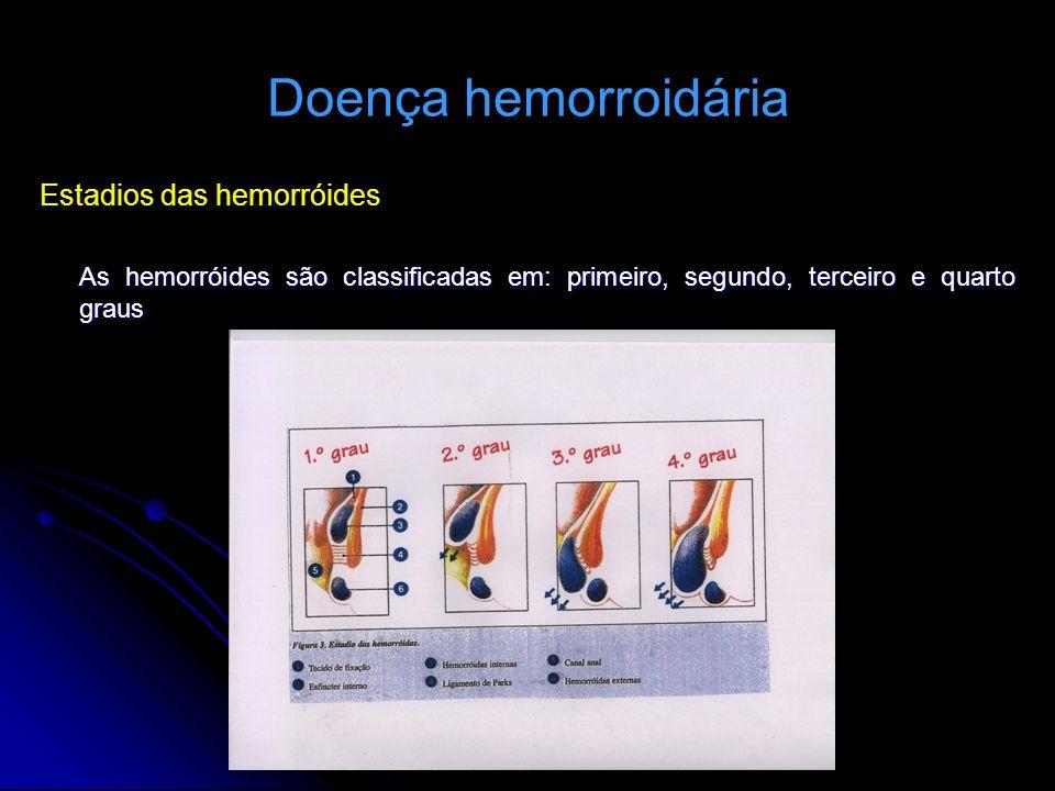 Doença hemorroidária Estadios das hemorróides As hemorróides são classificadas em: primeiro, segundo, terceiro e quarto graus