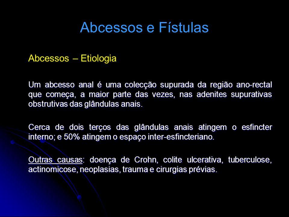 Abcessos e Fístulas Abcessos – Etiologia Um abcesso anal é uma colecção supurada da região ano-rectal que começa, a maior parte das vezes, nas adenite