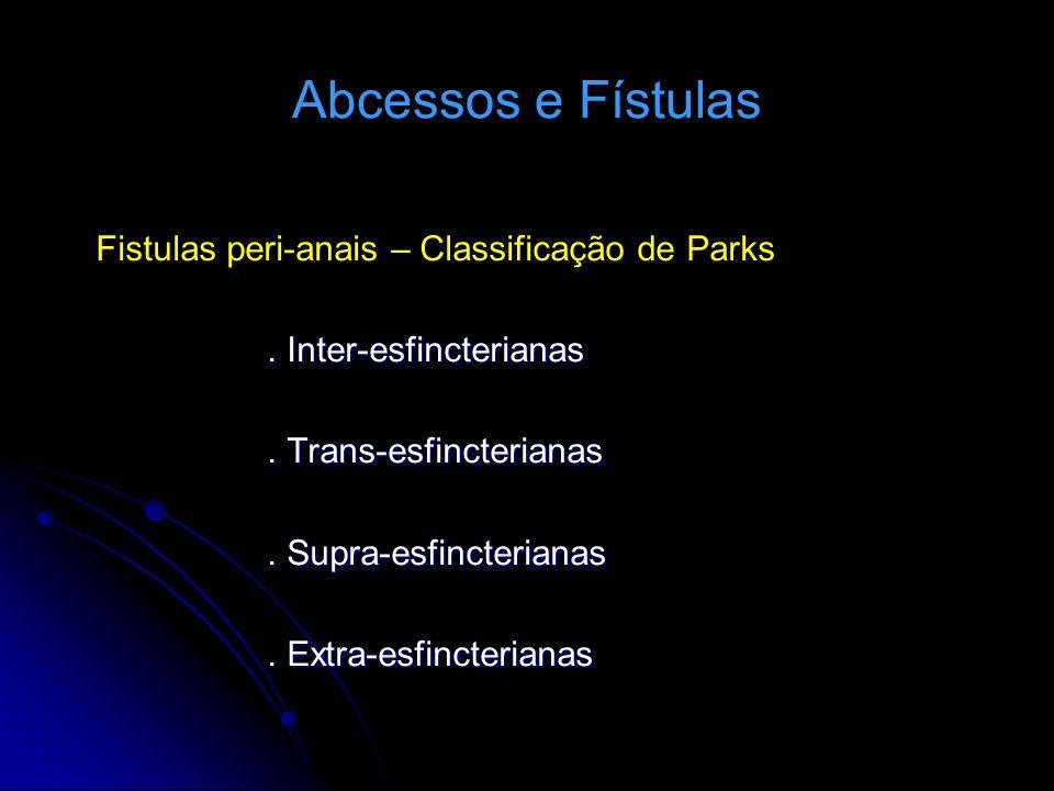 Fistulas peri-anais – Classificação de Parks. Inter-esfincterianas. Trans-esfincterianas. Supra-esfincterianas. Extra-esfincterianas