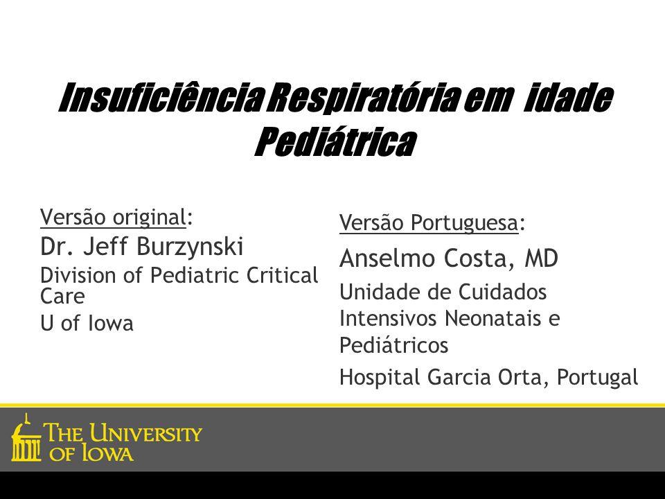 Insuficiência Respiratória em idade Pediátrica Versão original: Dr. Jeff Burzynski Division of Pediatric Critical Care U of Iowa Versão Portuguesa: An