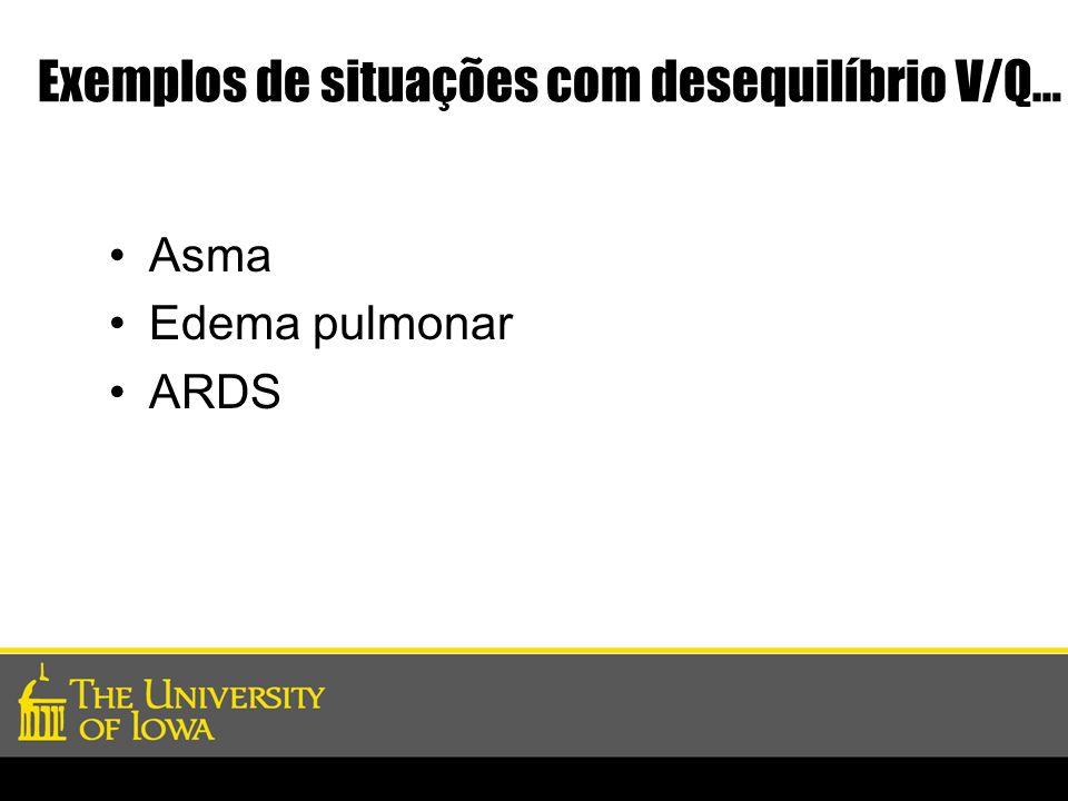 Exemplos de situações com desequilíbrio V/Q… Asma Edema pulmonar ARDS